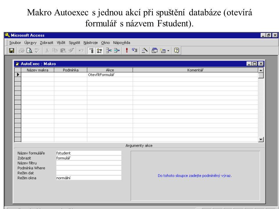 Makro Autoexec s jednou akcí při spuštění databáze (otevírá formulář s názvem Fstudent).