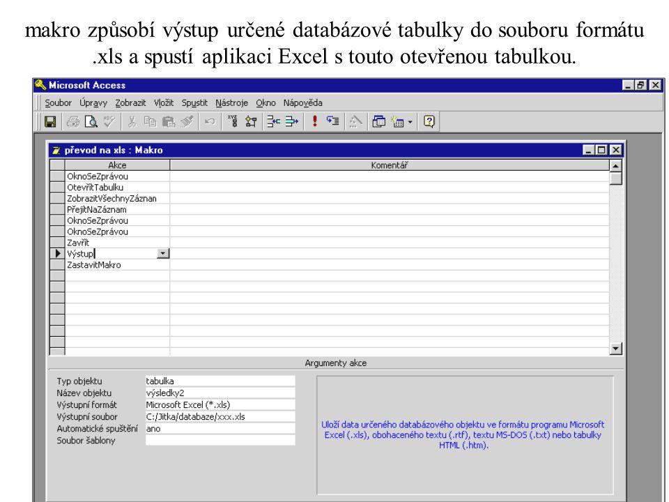 Příkazové tlačítko formuláře s připojeným makrem (událostní procedurou) •Postup s použitím průvodce: •umístíte příkazové tlačítko na novém formuláři (viz Souprava nástrojů) vyvolá se automaticky Průvodce příkazovým tlačítkem (pokud je zapnut) •zde je možné zapsat akce, které se mají provést po stisku tlačítka např.