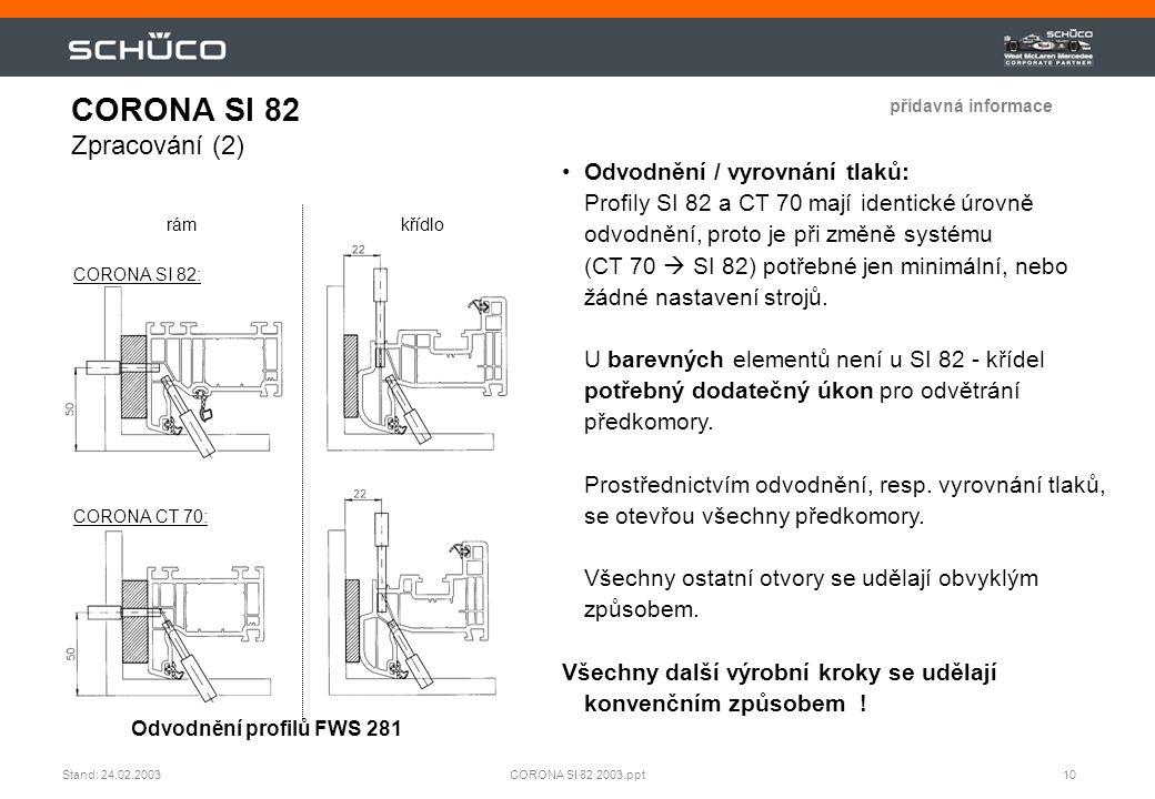10CORONA SI 82 2003.pptStand: 24.02.2003 CORONA SI 82 Zpracování (2) rámkřídlo Odvodnění profilů FWS 281 •Odvodnění / vyrovnání tlaků: Profily SI 82 a