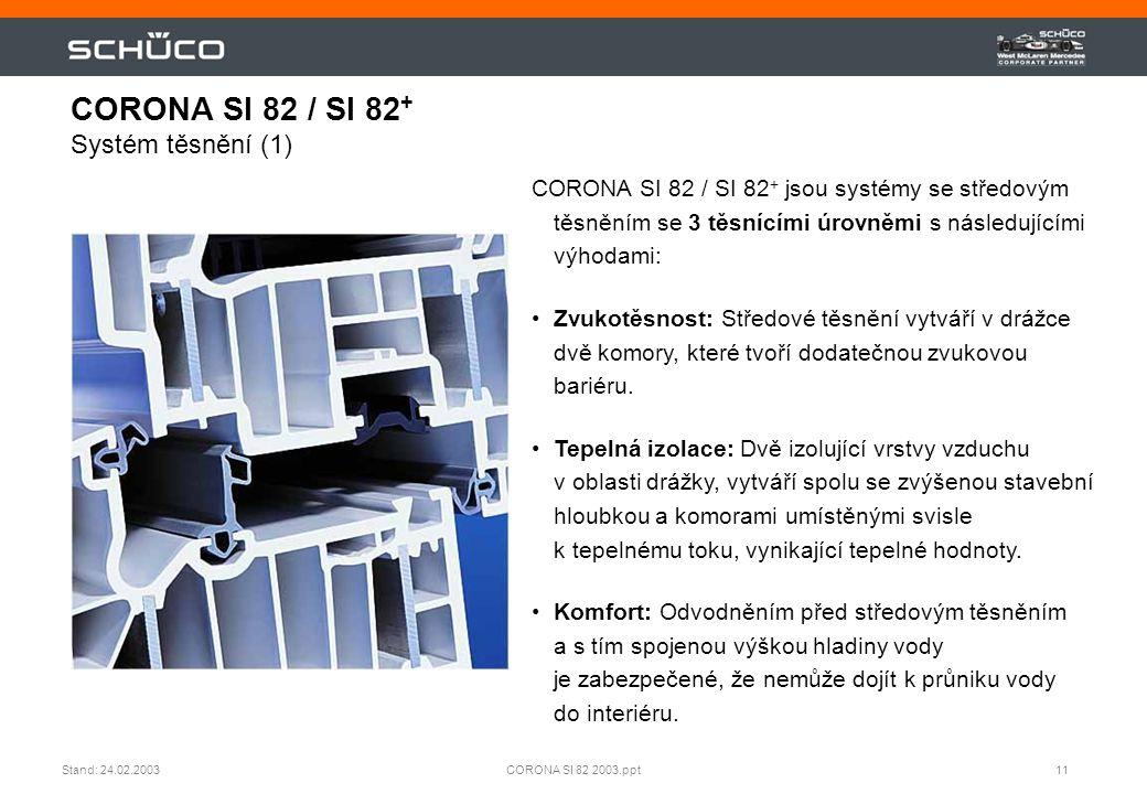 11CORONA SI 82 2003.pptStand: 24.02.2003 CORONA SI 82 / SI 82 + Systém těsnění (1) CORONA SI 82 / SI 82 + jsou systémy se středovým těsněním se 3 těsn