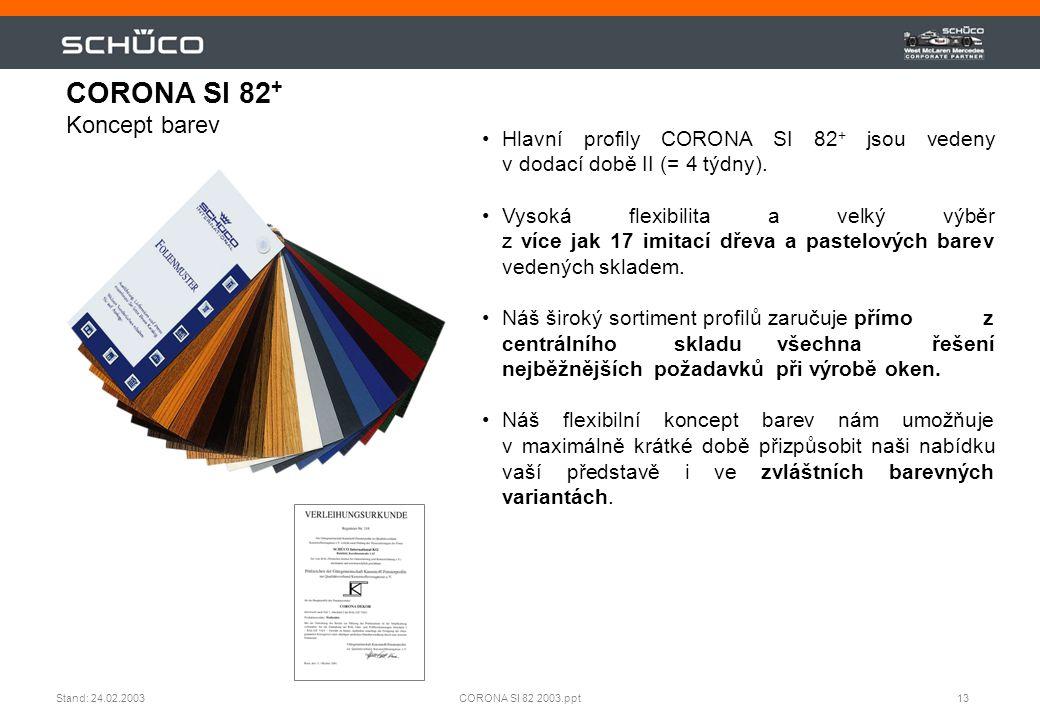 13CORONA SI 82 2003.pptStand: 24.02.2003 •Hlavní profily CORONA SI 82 + jsou vedeny v dodací době II (= 4 týdny). •Vysoká flexibilita a velký výběr z