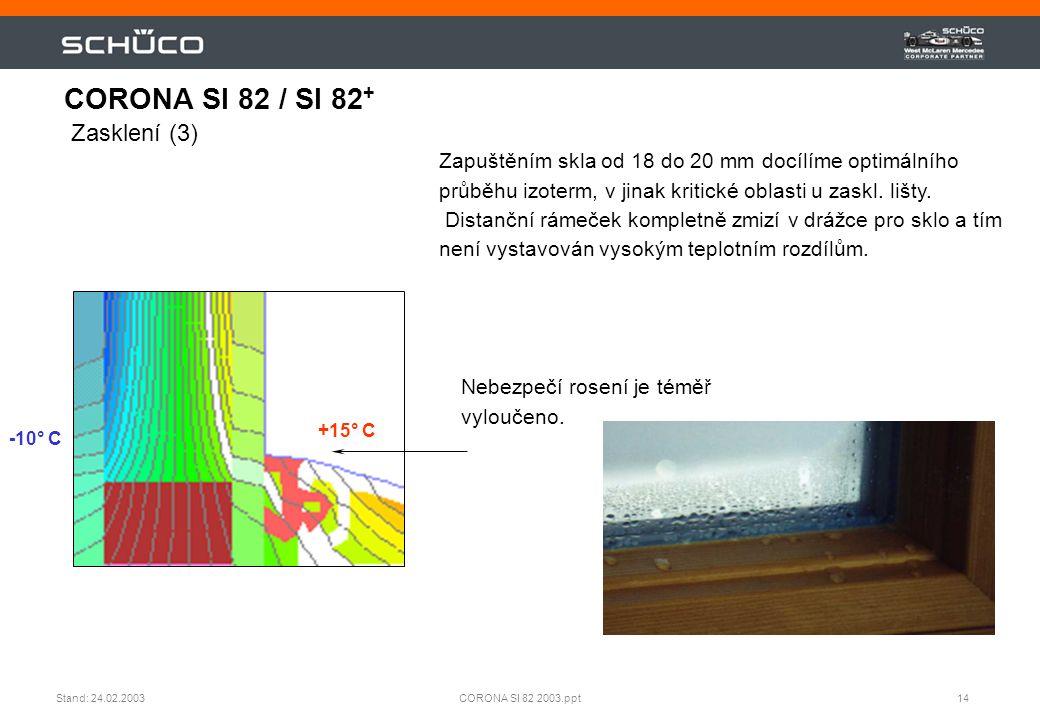 14CORONA SI 82 2003.pptStand: 24.02.2003 Zapuštěním skla od 18 do 20 mm docílíme optimálního průběhu izoterm, v jinak kritické oblasti u zaskl. lišty.