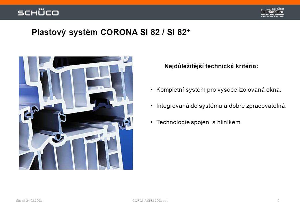 2CORONA SI 82 2003.pptStand: 24.02.2003 Plastový systém CORONA SI 82 / SI 82 + •Kompletní systém pro vysoce izolovaná okna. •Integrovaná do systému a