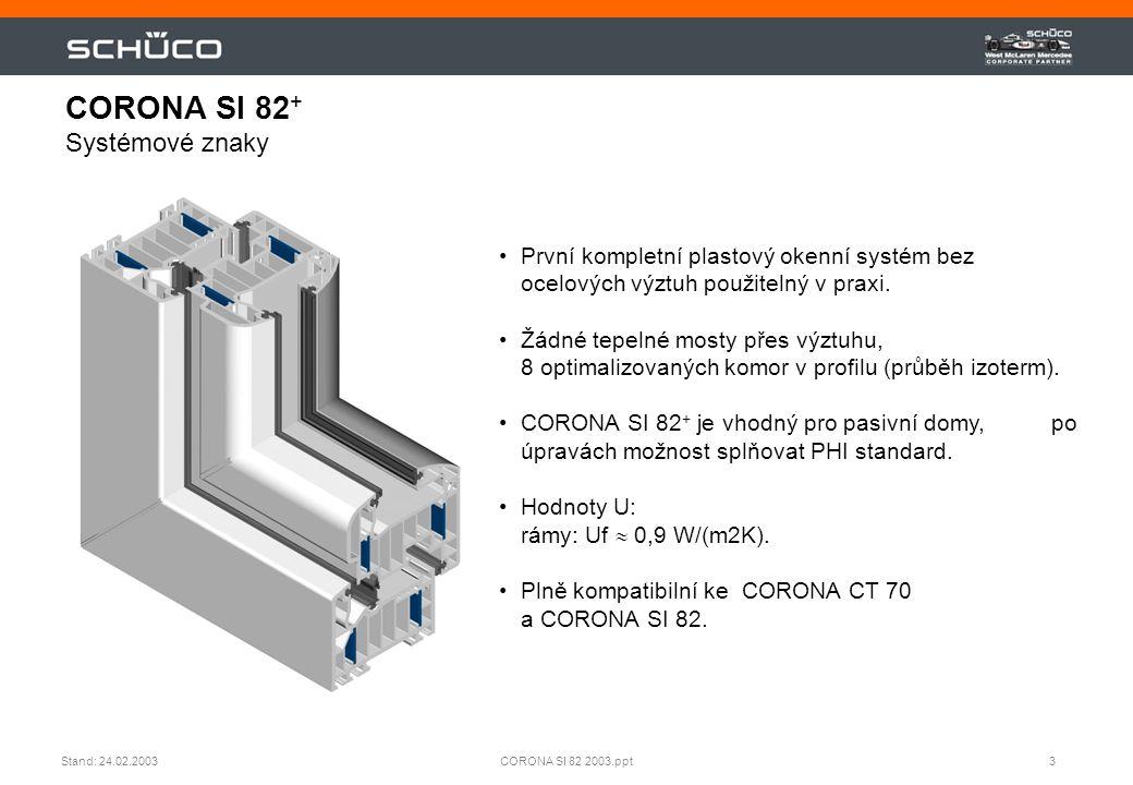 3CORONA SI 82 2003.pptStand: 24.02.2003 •První kompletní plastový okenní systém bez ocelových výztuh použitelný v praxi. •Žádné tepelné mosty přes výz