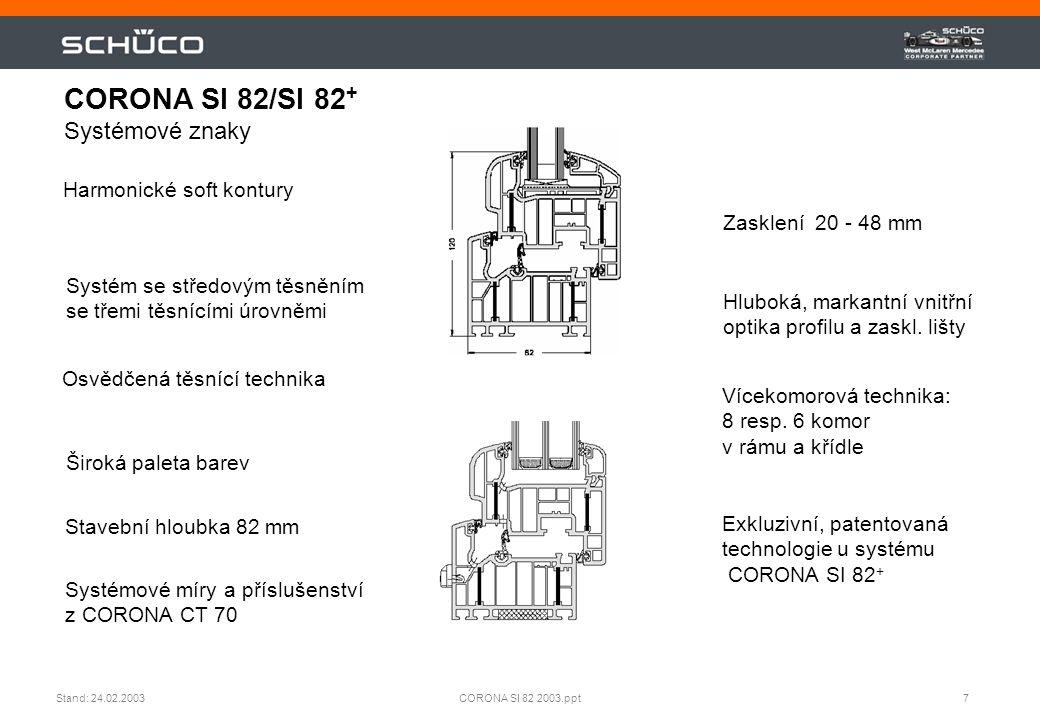 7CORONA SI 82 2003.pptStand: 24.02.2003 Harmonické soft kontury Osvědčená těsnící technika Zasklení 20 - 48 mm Hluboká, markantní vnitřní optika profi