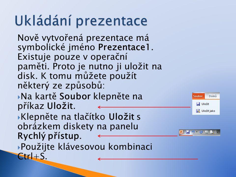 Počínaje PowerPointem 2007 jsou prezentace ukládány v novém formátu (přípona PPTX).