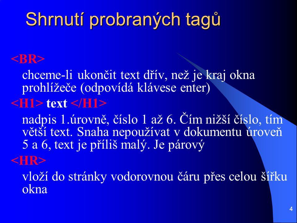 4 Shrnutí probraných tagů chceme-li ukončit text dřív, než je kraj okna prohlížeče (odpovídá klávese enter) text nadpis 1.úrovně, číslo 1 až 6. Čím ni