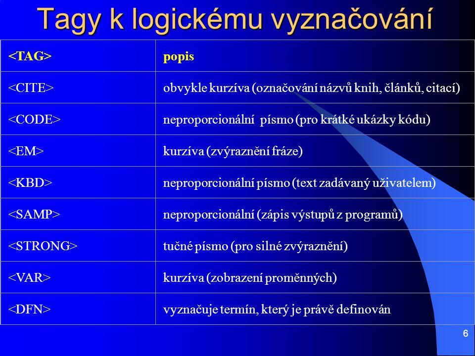 6 Tagy k logickému vyznačování popis obvykle kurzíva (označování názvů knih, článků, citací) neproporcionální písmo (pro krátké ukázky kódu) kurzíva (