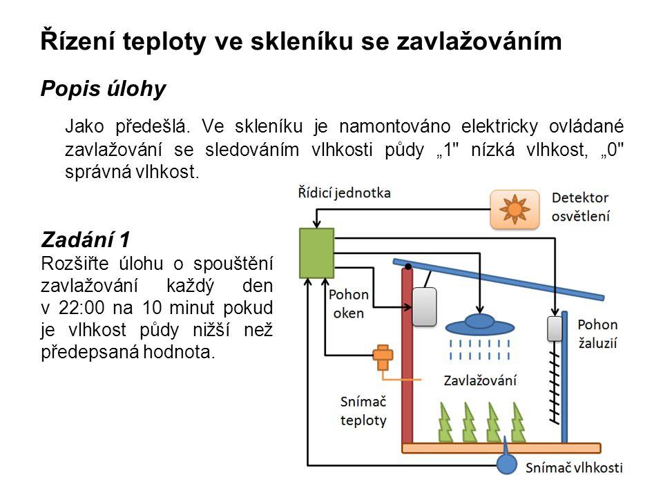 Řízení teploty ve skleníku se zavlažováním Popis úlohy Jako předešlá. Ve skleníku je namontováno elektricky ovládané zavlažování se sledováním vlhkost