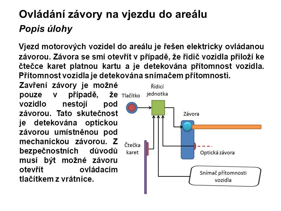 Ovládání závory na vjezdu do areálu Popis úlohy Vjezd motorových vozidel do areálu je řešen elektricky ovládanou závorou. Závora se smí otevřít v příp