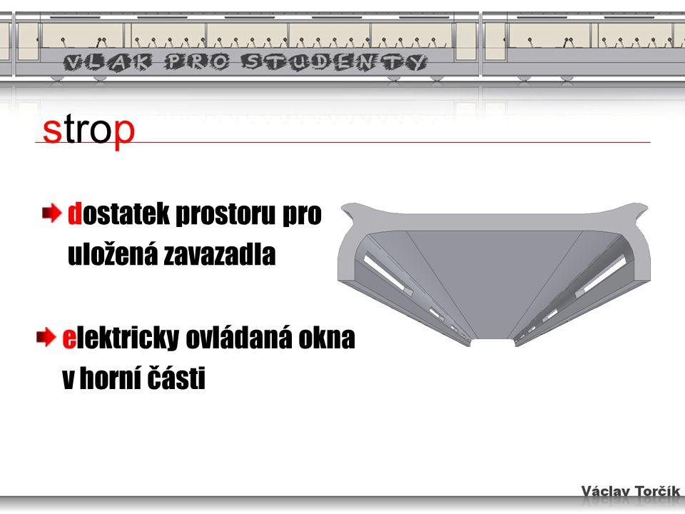 strop dostatek prostoru pro uložená zavazadla elektricky ovládaná okna v horní části