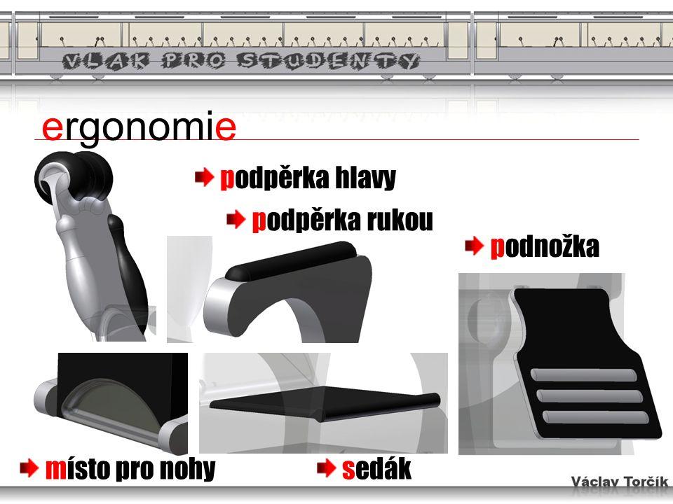 ergonomie podpěrka hlavy místo pro nohy podpěrka rukou sedák podnožka