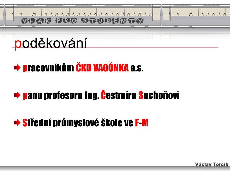 poděkování pracovníkům ČKD VAGÓNKA a.s. panu profesoru Ing. Čestmíru Suchoňovi Střední průmyslové škole ve F-M