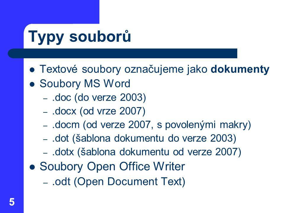 55 Typy souborů  Textové soubory označujeme jako dokumenty  Soubory MS Word –.doc (do verze 2003) –.docx (od vrze 2007) –.docm (od verze 2007, s povolenými makry) –.dot (šablona dokumentu do verze 2003) –.dotx (šablona dokumentu od verze 2007)  Soubory Open Office Writer –.odt (Open Document Text)