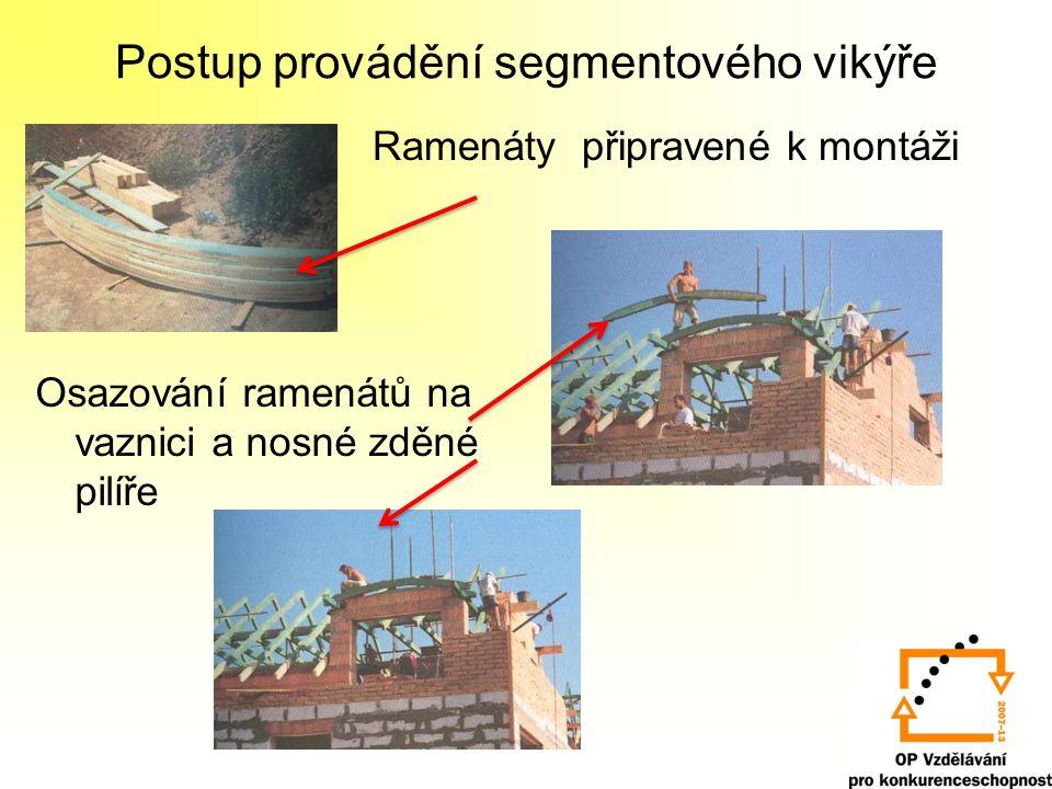 Postup provádění segmentového vikýře Ramenáty připravené k montáži Osazování ramenátů na vaznici a nosné zděné pilíře