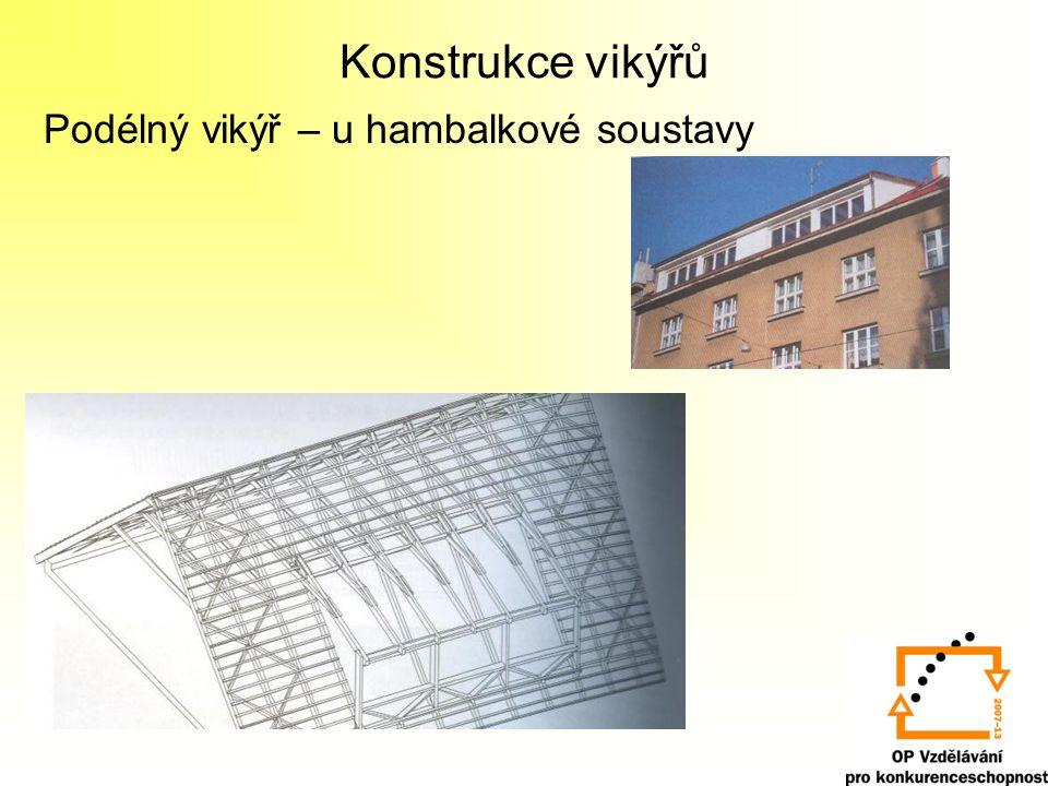 Konstrukce vikýřů Podélný vikýř – u hambalkové soustavy