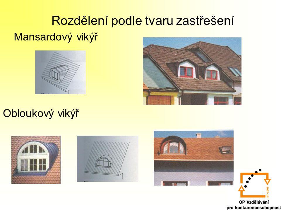 Rozdělení podle tvaru zastřešení Obloukový vikýř - se svislými nosnými stěnami Obloukový vikýř - segmentový