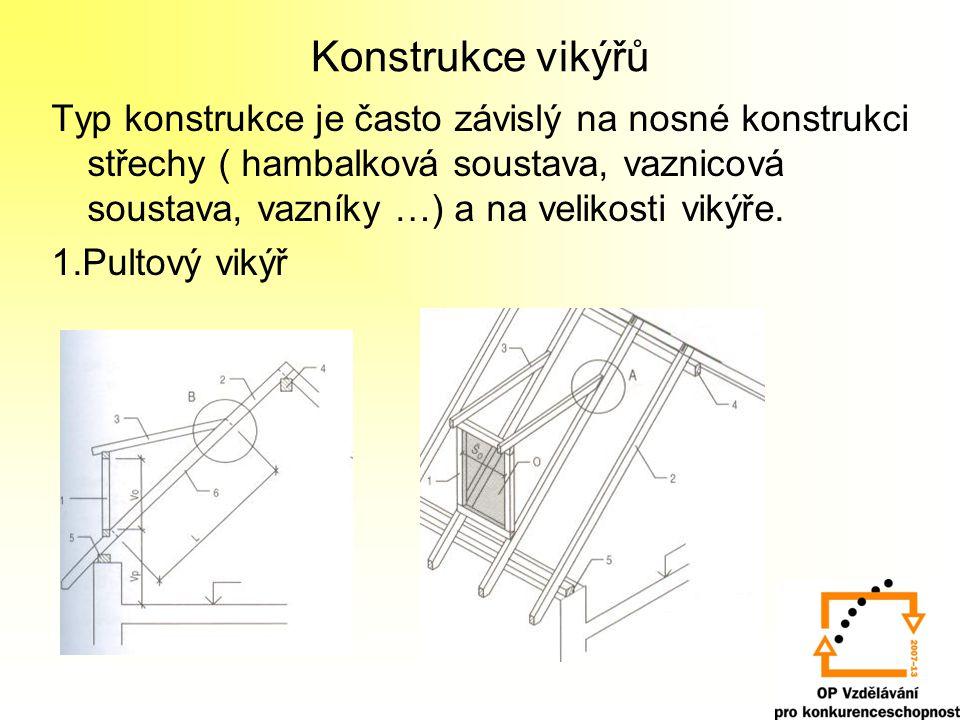 Konstrukce vikýřů Typ konstrukce je často závislý na nosné konstrukci střechy ( hambalková soustava, vaznicová soustava, vazníky …) a na velikosti vikýře.