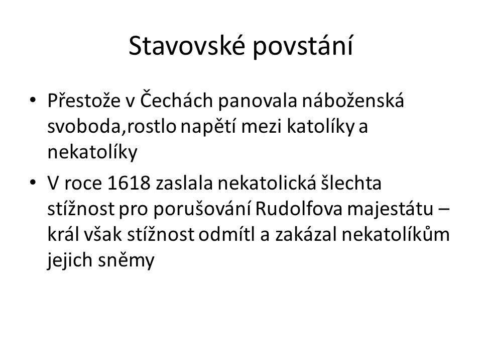 Stavovské povstání • Přestože v Čechách panovala náboženská svoboda,rostlo napětí mezi katolíky a nekatolíky • V roce 1618 zaslala nekatolická šlechta