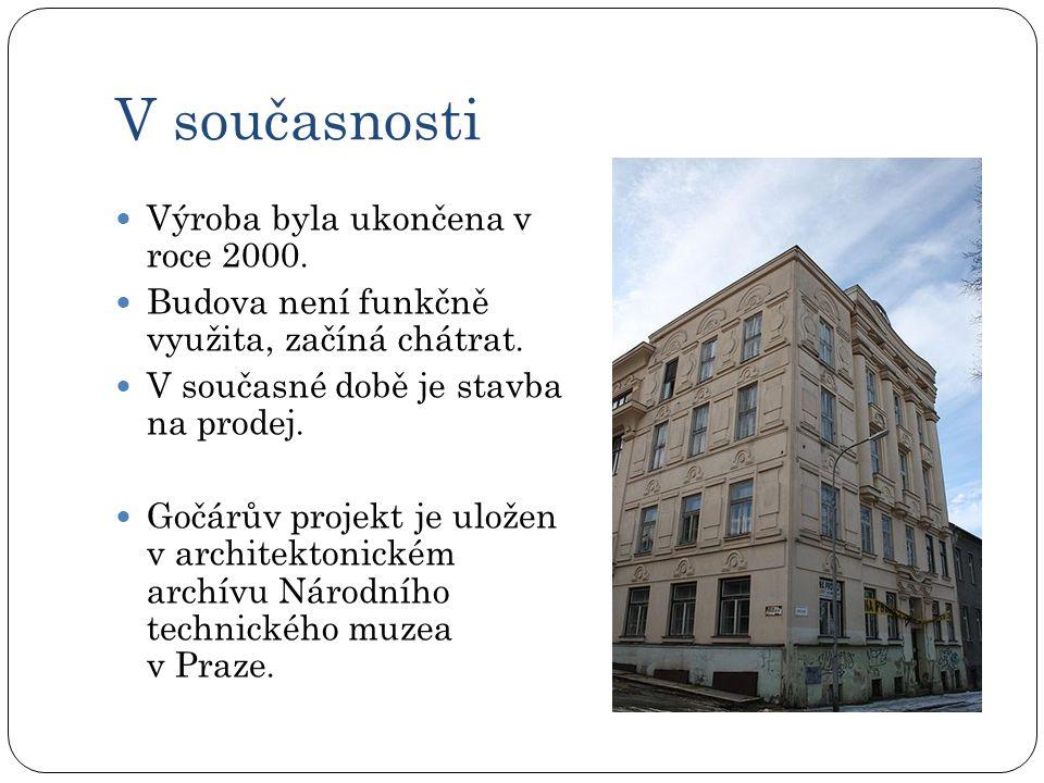 V současnosti  Výroba byla ukončena v roce 2000. Budova není funkčně využita, začíná chátrat.