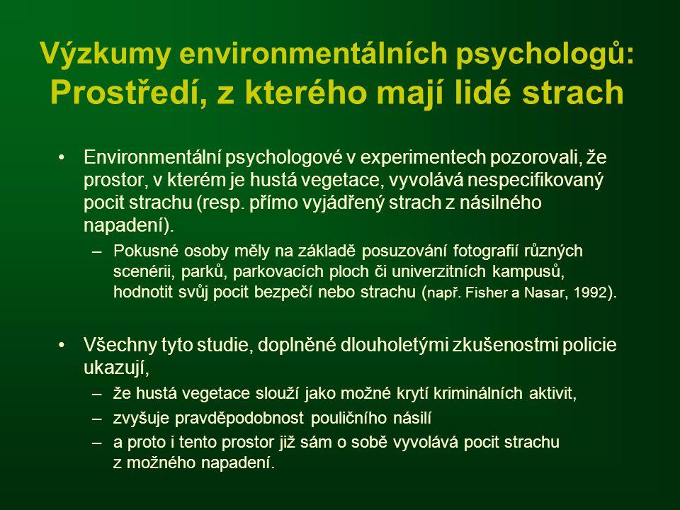 Výzkumy environmentálních psychologů: Prostředí, z kterého mají lidé strach •Environmentální psychologové v experimentech pozorovali, že prostor, v kt