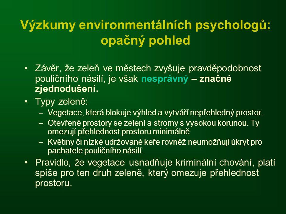 Výzkumy environmentálních psychologů: opačný pohled •Závěr, že zeleň ve městech zvyšuje pravděpodobnost pouličního násilí, je však nesprávný – značné