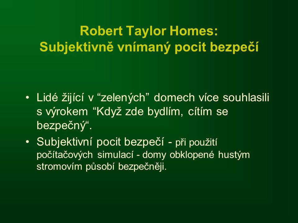 """Robert Taylor Homes: Subjektivně vnímaný pocit bezpečí •Lidé žijící v """"zelených"""" domech více souhlasili s výrokem """"Když zde bydlím, cítím se bezpečný"""""""