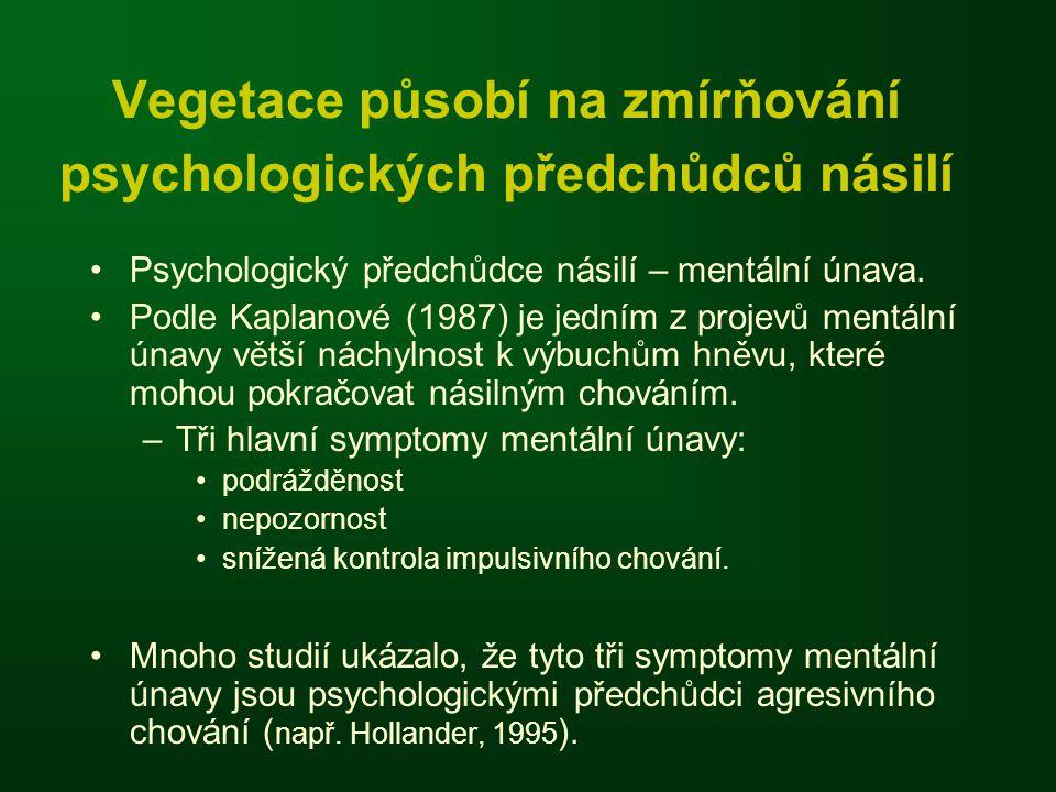 Vegetace působí na zmírňování psychologických předchůdců násilí •Psychologický předchůdce násilí – mentální únava. •Podle Kaplanové (1987) je jedním z