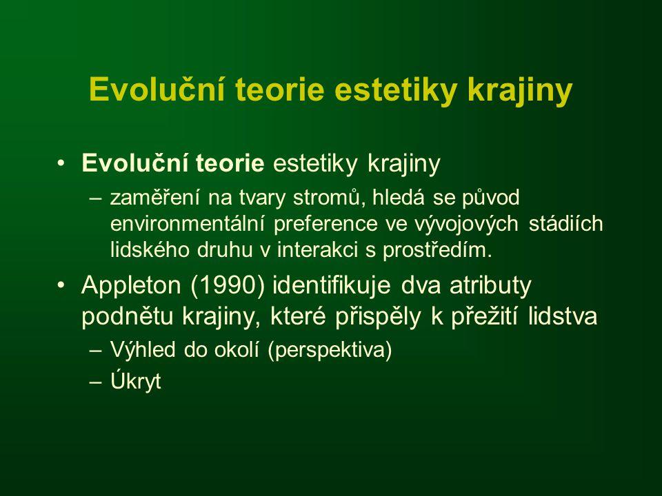 Evoluční teorie estetiky krajiny •Evoluční teorie estetiky krajiny –zaměření na tvary stromů, hledá se původ environmentální preference ve vývojových