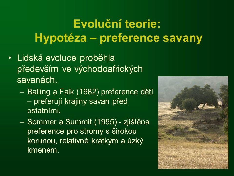 Evoluční teorie: Hypotéza – preference savany •Lidská evoluce proběhla především ve východoafrických savanách. –Balling a Falk (1982) preference dětí