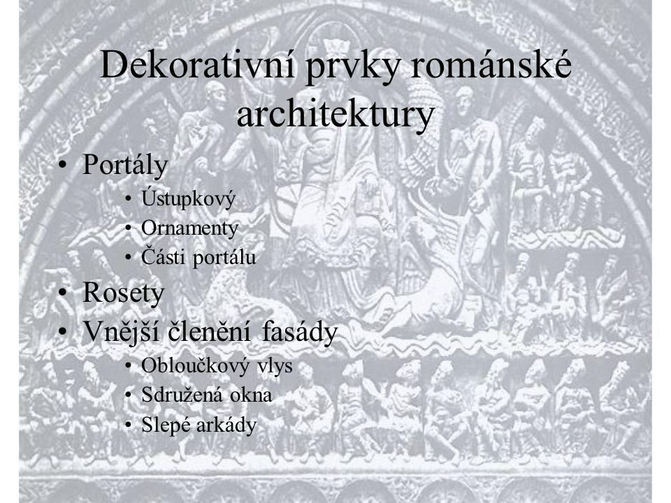 Dekorativní prvky románské architektury •Portály •Ústupkový •Ornamenty •Části portálu •Rosety •Vnější členění fasády •Obloučkový vlys •Sdružená okna •