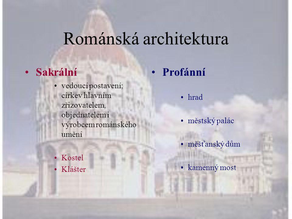 Románská architektura •Sakrální •vedoucí postavení; církev hlavním zřizovatelem, objednatelem i výrobcem románského umění •Kostel •Klášter •Profánní •