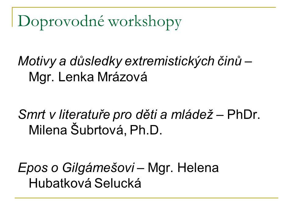 Doprovodné workshopy Motivy a důsledky extremistických činů – Mgr. Lenka Mrázová Smrt v literatuře pro děti a mládež – PhDr. Milena Šubrtová, Ph.D. Ep
