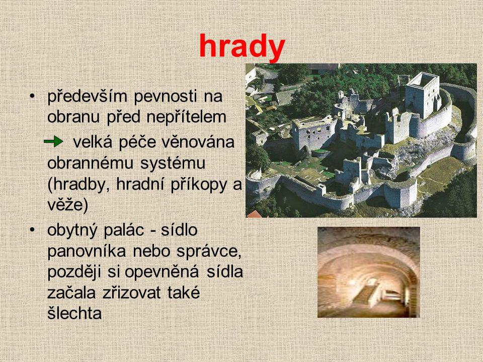 hrady •především pevnosti na obranu před nepřítelem velká péče věnována obrannému systému (hradby, hradní příkopy a věže) •obytný palác - sídlo panovn