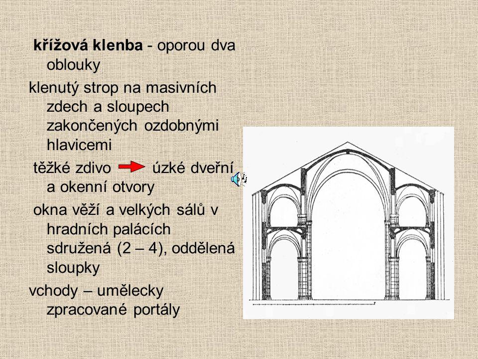 křížová klenba - oporou dva oblouky klenutý strop na masivních zdech a sloupech zakončených ozdobnými hlavicemi těžké zdivo úzké dveřní a okenní otvor