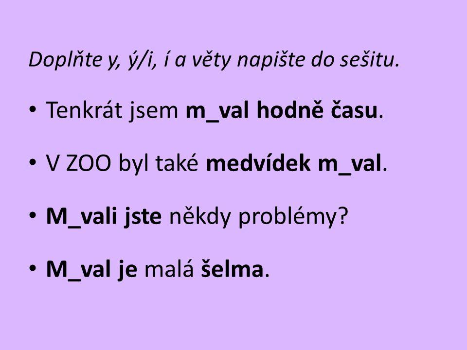 Doplňte y, ý/i, í a věty napište do sešitu. • Tenkrát jsem m_val hodně času. • V ZOO byl také medvídek m_val. • M_vali jste někdy problémy? • M_val je