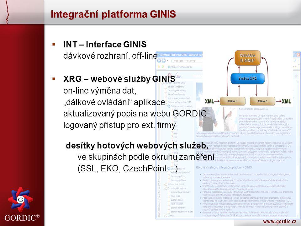 """ INT – Interface GINIS dávkové rozhraní, off-line  XRG – webové služby GINIS on-line výměna dat, """"dálkové ovládání"""" aplikace aktualizovaný popis na"""