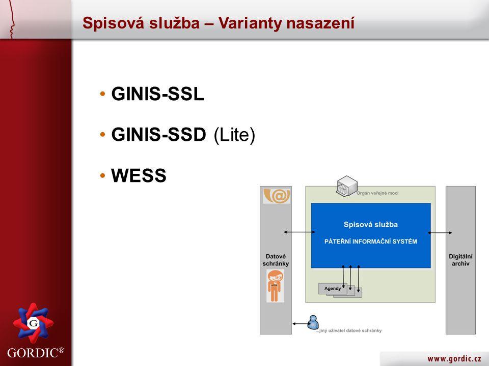 Spisová služba – Varianty nasazení • GINIS-SSL • GINIS-SSD (Lite) • WESS