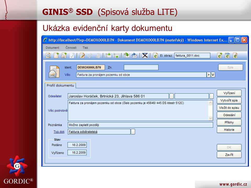 Ukázka evidenční karty dokumentu GINIS ® SSD (Spisová služba LITE)
