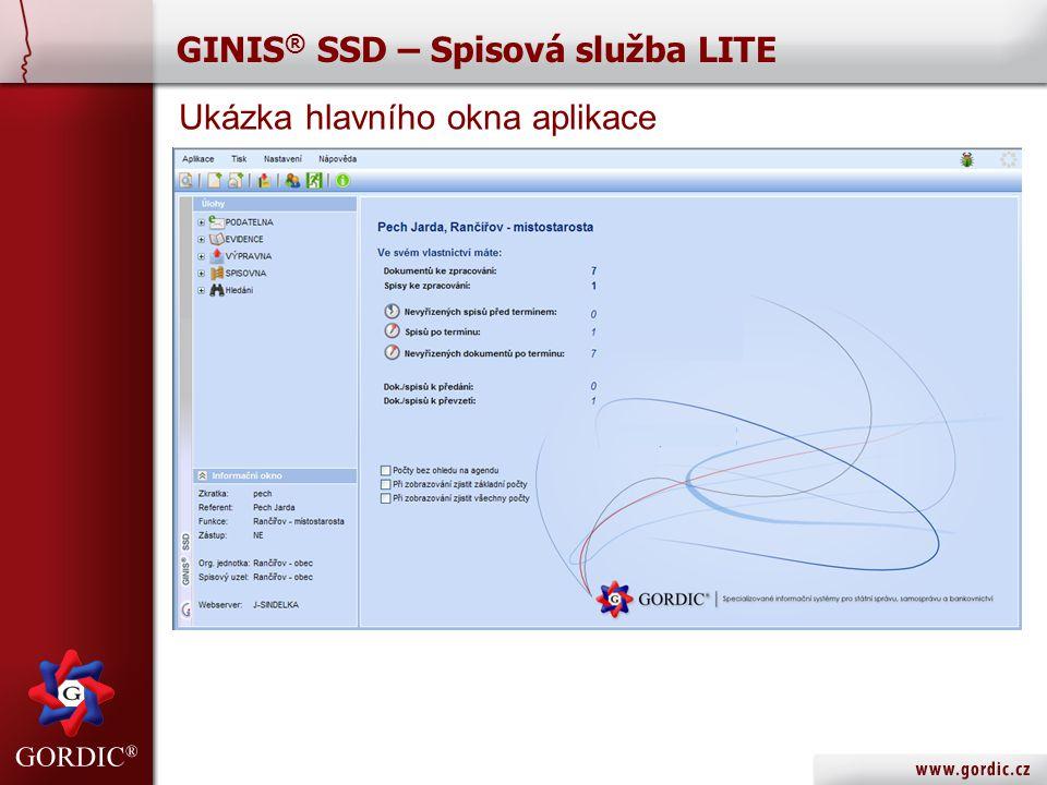 GINIS ® SSD – Spisová služba LITE Ukázka hlavního okna aplikace