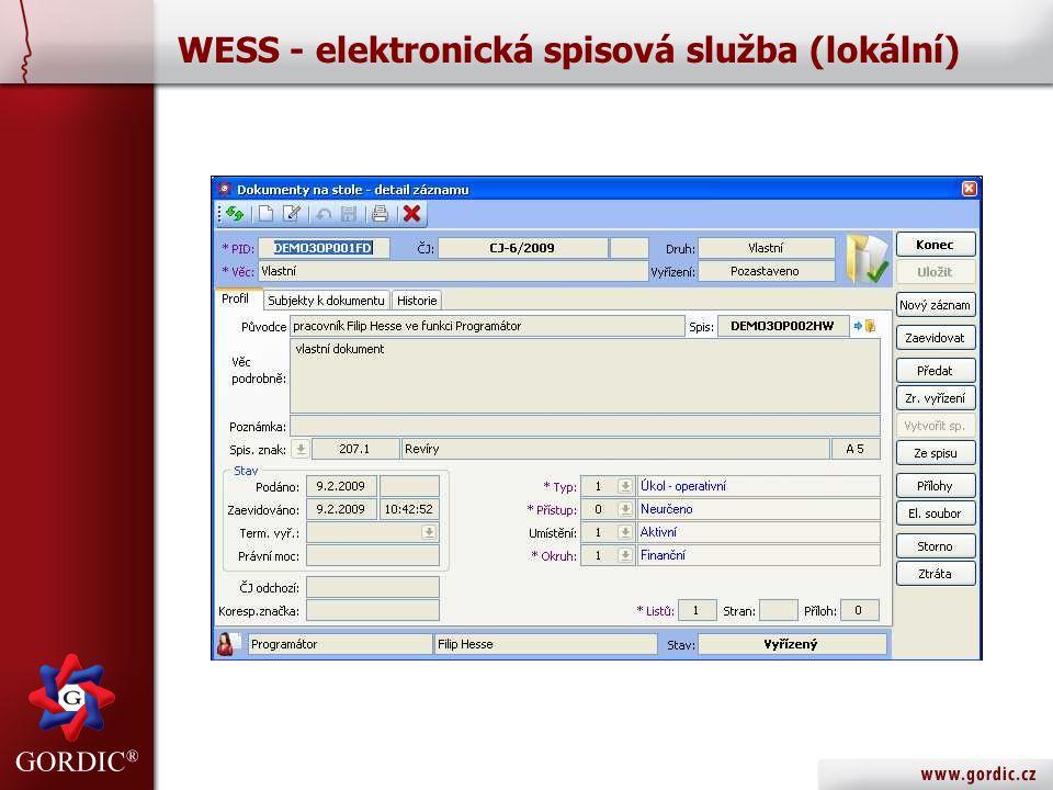 WESS - elektronická spisová služba (lokální)
