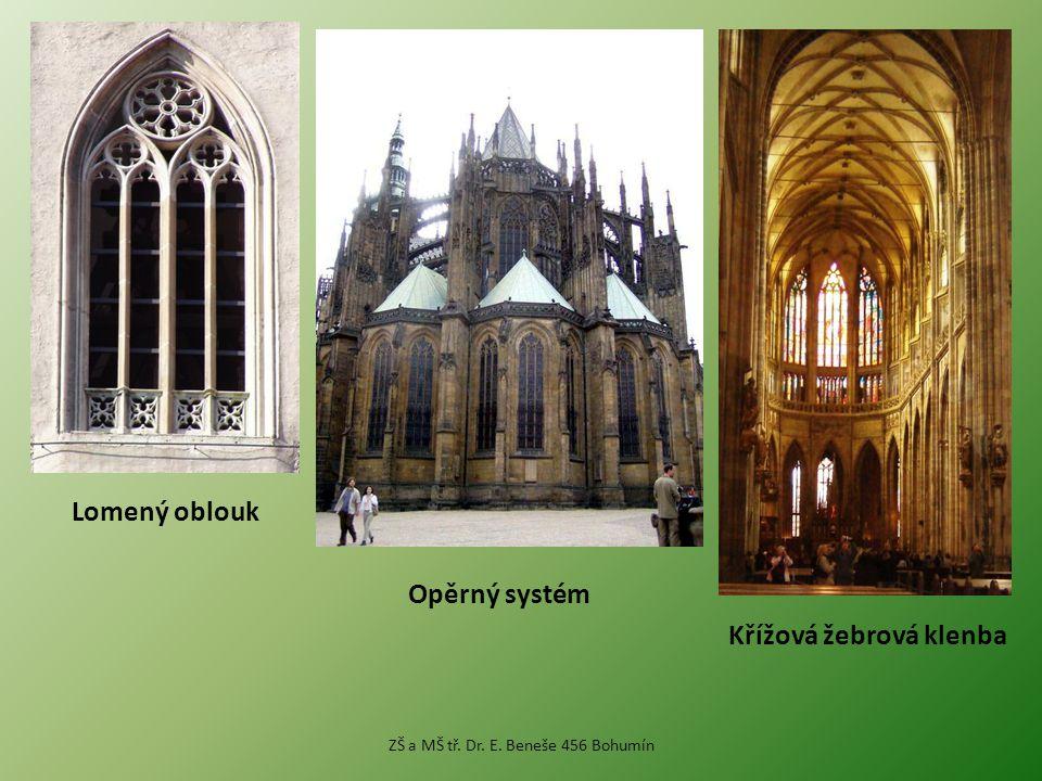 Lomený oblouk Opěrný systém Křížová žebrová klenba ZŠ a MŠ tř. Dr. E. Beneše 456 Bohumín