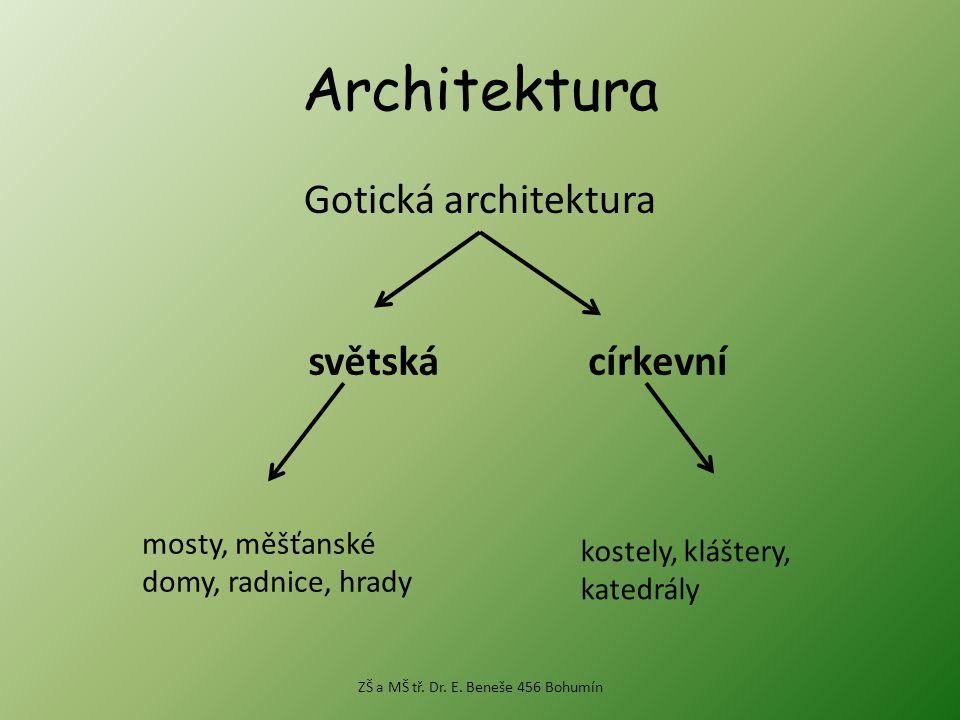 Architektura Gotická architektura světskácírkevní mosty, měšťanské domy, radnice, hrady kostely, kláštery, katedrály ZŠ a MŠ tř.