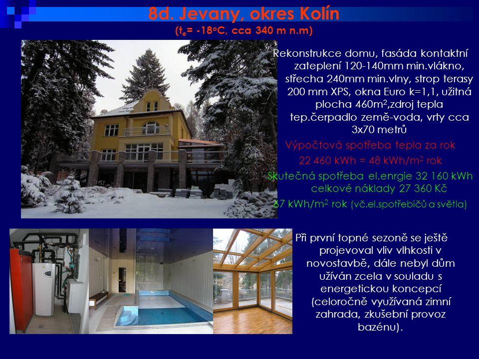 8d. Jevany, okres Kolín (t e = -18 o C, cca 340 m n.m) Při první topné sezoně se ještě projevoval vliv vlhkosti v novostavbě, dále nebyl dům užíván zc