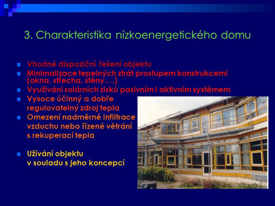 3. Charakteristika nízkoenergetického domu  Vhodné dispoziční řešení objektu  Minimalizace tepelných ztrát prostupem konstrukcemi (okna, střecha, st