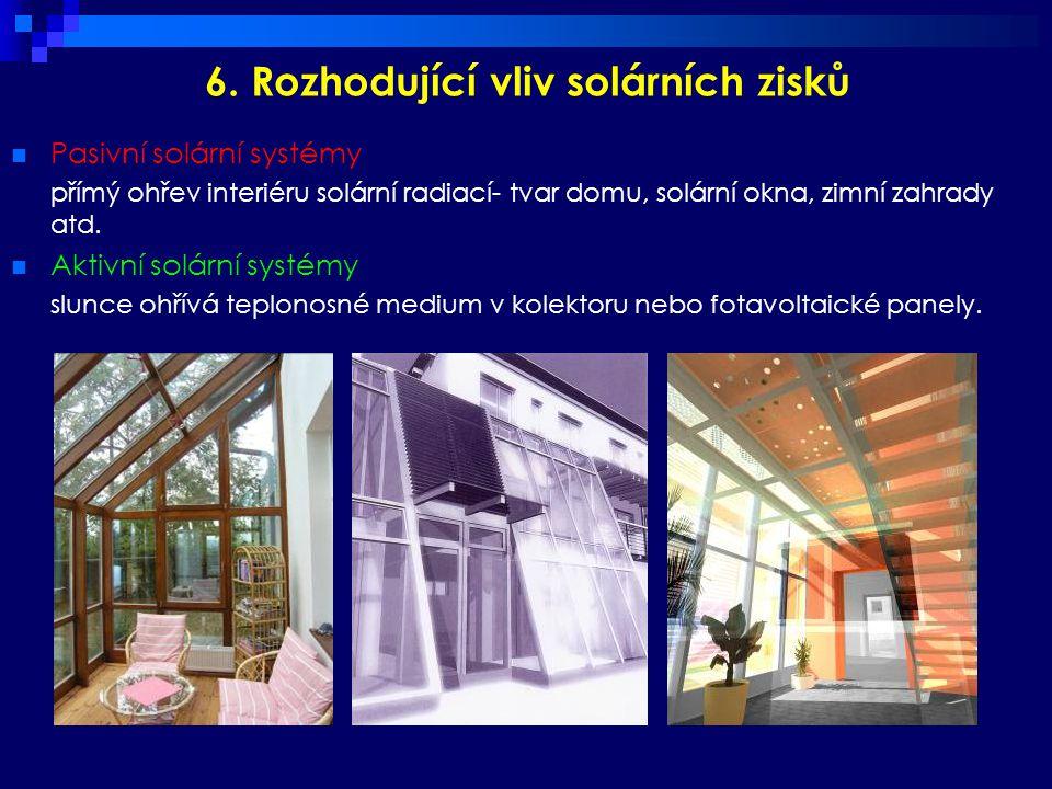 6. Rozhodující vliv solárních zisků  Pasivní solární systémy přímý ohřev interiéru solární radiací- tvar domu, solární okna, zimní zahrady atd.  Akt