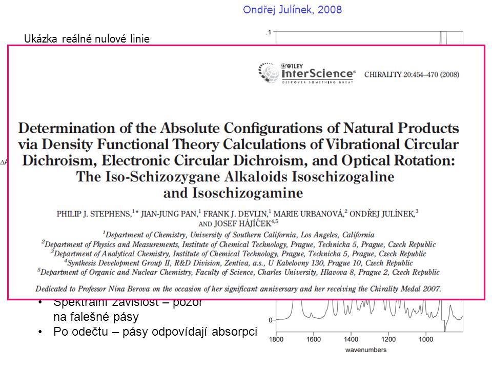 Ukázka reálné nulové linie (-)-isoschizogamine v CDCl 3 Ondřej Julínek, 2008 Typické rysy: •Offset (posun) od nuly •Spektrální závislost – pozor na fa