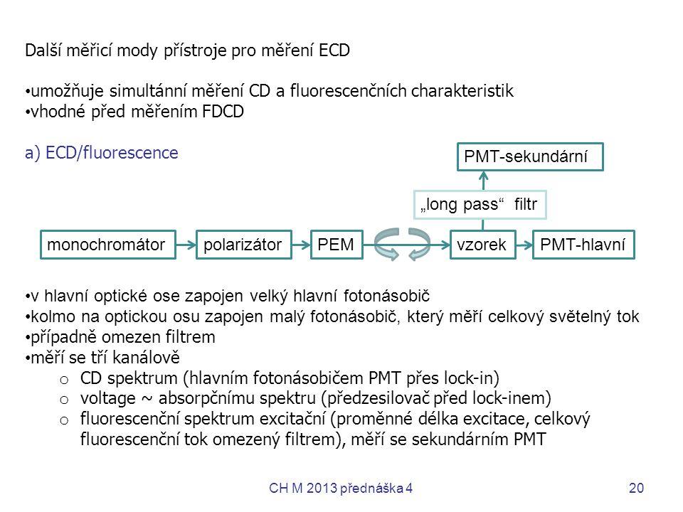 Další měřicí mody přístroje pro měření ECD • umožňuje simultánní měření CD a fluorescenčních charakteristik • vhodné před měřením FDCD a) ECD/fluoresc