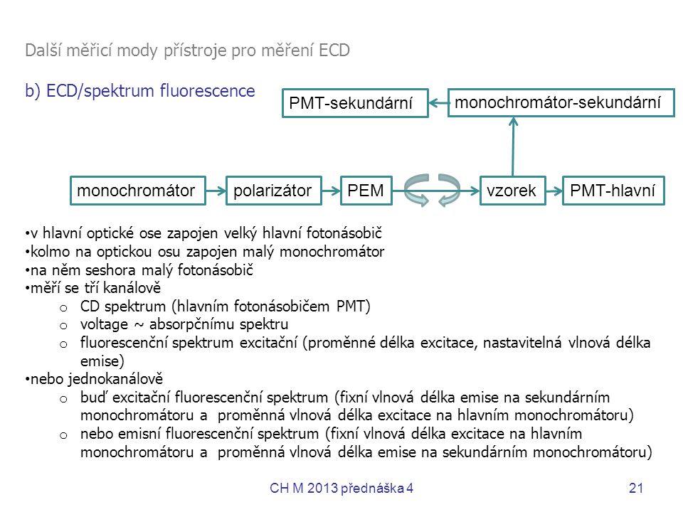 Další měřicí mody přístroje pro měření ECD b) ECD/spektrum fluorescence • v hlavní optické ose zapojen velký hlavní fotonásobič • kolmo na optickou os