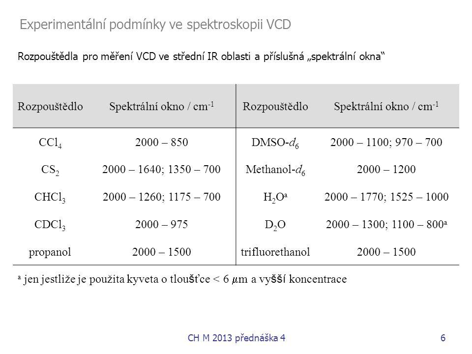 """CH M 2013 přednáška 46 Rozpouštědla pro měření VCD ve střední IR oblasti a příslušná """"spektrální okna"""" RozpouštědloSpektrální okno / cm -1 Rozpouštědl"""